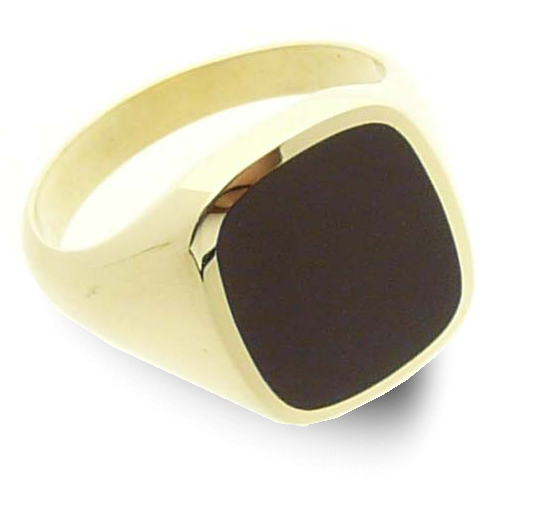 Signet ring gold classic cushion