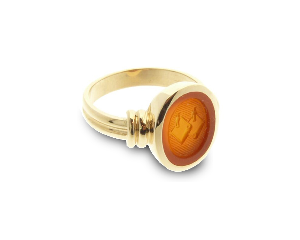 women's signet ring oval double shank double band
