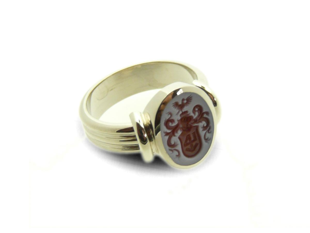 women's signet ring oval triple shank singe band
