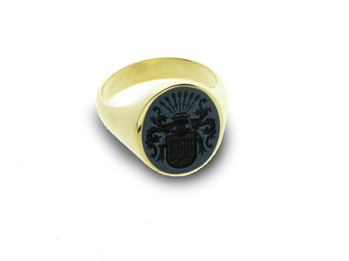 Signet ring gold classic oval engraved