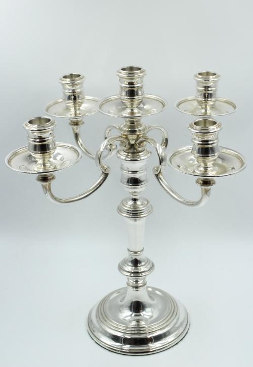 Zilveren 5 pits kandelaar model George