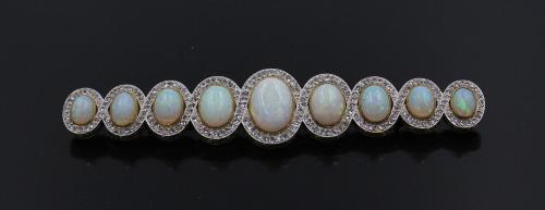 gouden broche met opaal en roosgeslepen diamant