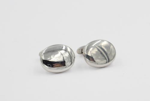 Zilveren knoop plat ovaal