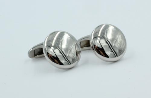zilveren manchetknopen rond model zware uitvoering. 15½ mm rond