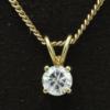 14 kt gouden geslepen gourmette collier 45 cm ,waaraan een hanger in een 4 poot draadchaton gezet met een briljant van 0.30 ct TW vvs1