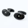 Ovale manchetknopen met briljant en zwarte keramische coating