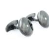 Ronde zilveren manchetknopen met briljant en zwarte keramische coating