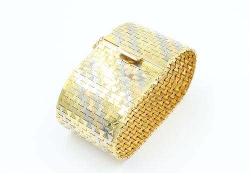 Drie-kleuren armband 18 karaats 39 mm breed 124 gram