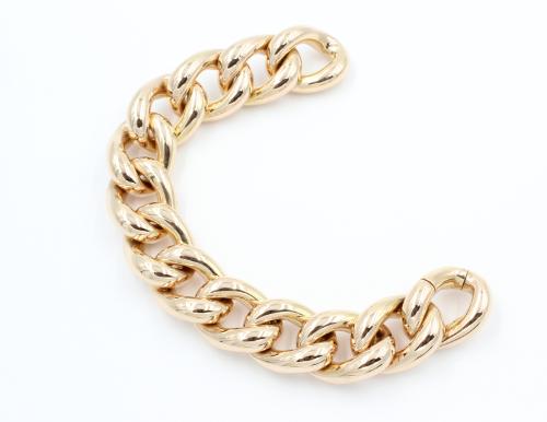 18 krt rose gouden brede gourmet armband 70,6 gram. Italiaans ontwerp