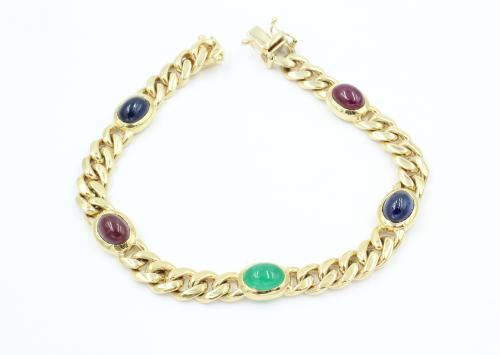 14 kt gouden geslepen gourmette armband met 5 cabochon edelstenen
