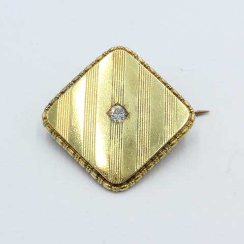 Victoriaans gouden broche vierkant met briljant