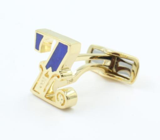 18 karaats gouden manchetknoop met ingelegde Lapis