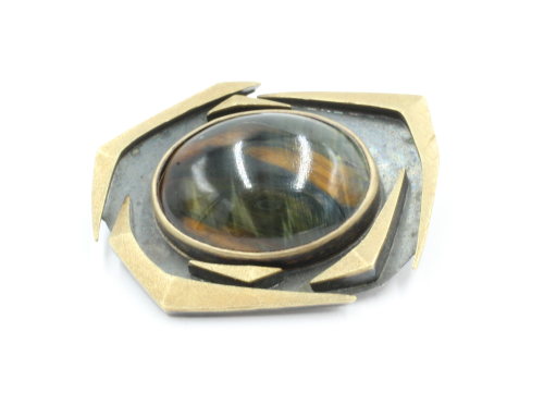 Goud met zilveren broche met een grote katteoog 20 bij 27 mm Ontwerp Archibald Dumbar