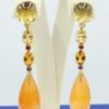 18 kt gouden oorhangers met diverse edelstenen